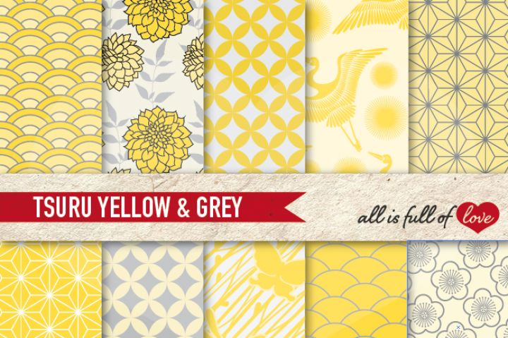 Japan Digital Paper Yellow Grey Background Patterns Tsuru By All is full of love