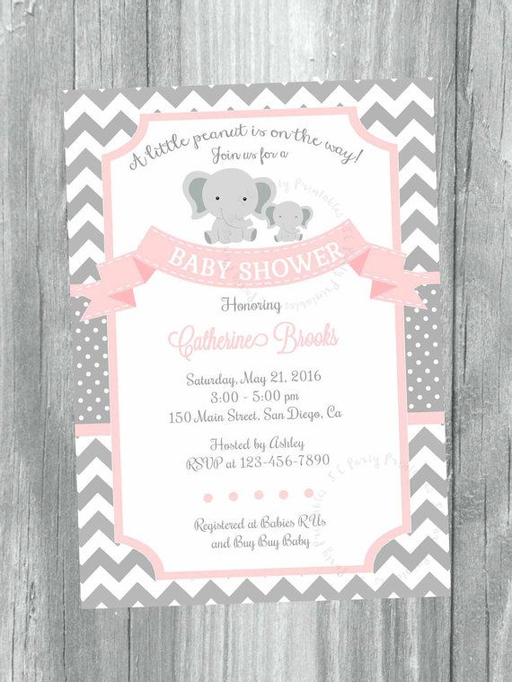Pink And Grey Chevron Baby Shower Invitation. Printable Baby Girl Invitation,  Elephant Little Peanut Invitation.