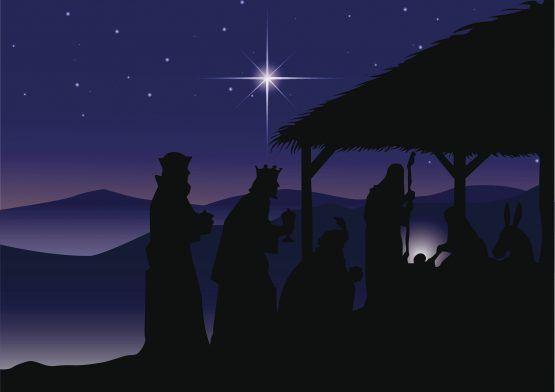 Adoraci?n de los reyes magos al ni?o Jes?s en Bel?n la noche de Navidad.