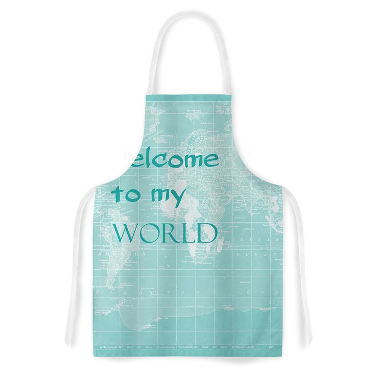 Kess InHouse Catherine Holcombe 'Welcome to my World Quote' Artistic Apron