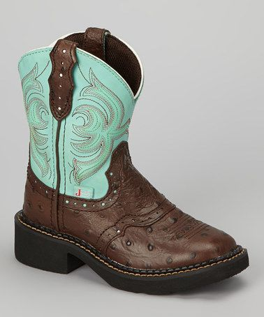 Justin Boots Brown Amp Teal Ostrich Saddle Cowboy Boot