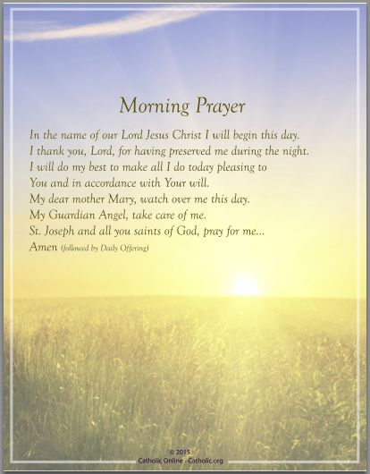 Prayers - Morning Prayer by Catholic Shopping .com | Catholic Shopping .com FREE Digital Download PDF