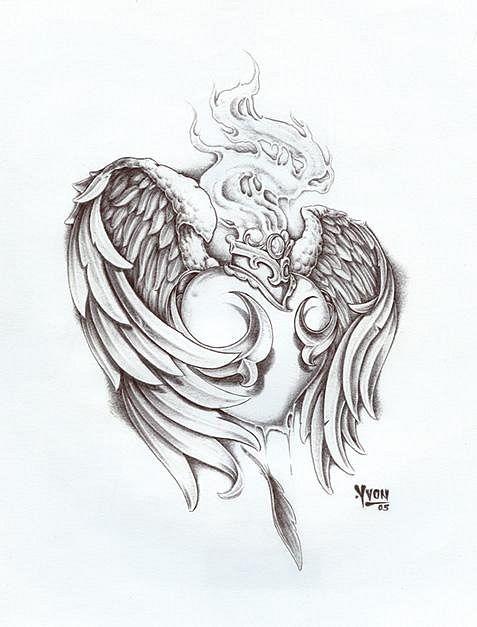 эскизы тату сердце с крыльями - Поиск в Google