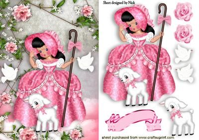 LITTLE BO PEEP WITH LITTLE LAMB PINK ROSES AND DOVES on Craftsuprint designed by Nick Bowley - LITTLE BO PEEP WITH LITTLE LAMB, PINK ROSES AND DOVES, Makes a pretty card, there are lots of other Bo Peeps to see,  - Now available for download!