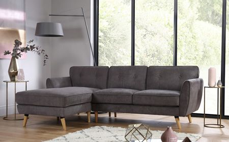 Harlow Grey Fabric L Shape Corner Sofa LHF