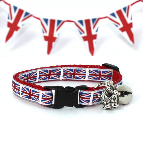 If I ever get a cat again, he/she will NEED this collar! - Union Jack Breakaway Cat Collar by MogsTogs on Etsy, $11.00