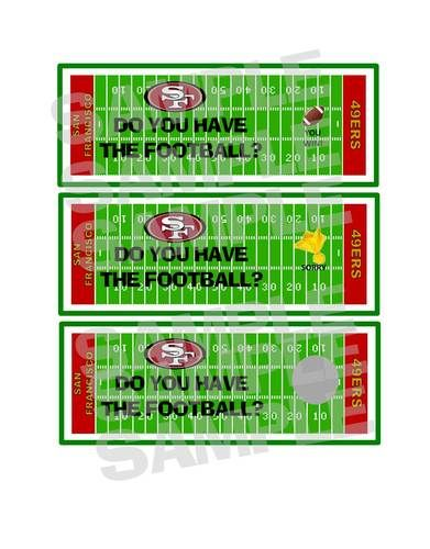 SAN FRANCISCO 49ERS FOOTBALL tailgate birthday party game scratch off tickets