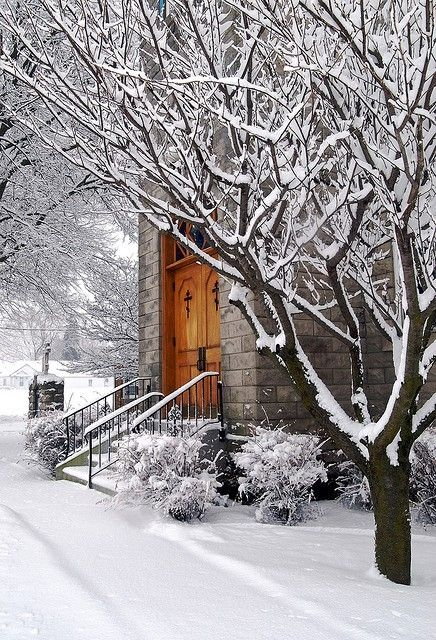 winter~this reminds me of going to church on Christmas Eve. Love it!!