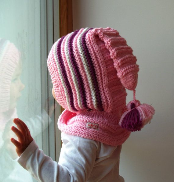 READY TO SHIP  all sizes 6-12m, and 1-3-6-10 years.Merino Balaclava Hat, Baby/ Toddler/ Children Hoodie hat with Pom Pom Tail, Pink Hat