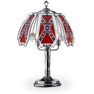 "OK Lighting 23.5""H Confederate Flag Theme Touch Lamp, Black Chrome"