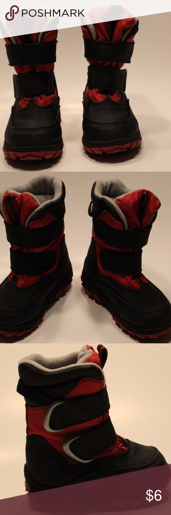 Falls Creek Size 8 Toddlers Snow Boots Gently USED !!!!!!Soon it will be that time of year again!!!!!  Falls Creek Size 8 Toddlers Boys Winter Snow Boots Gently USED  Gently Used Very Clean  Color -- Black and Red ThermoLite Lining Upper lining is light gray and lower half of lining is Black. Very Warm  Velcro Snap Closures (Very Clean)  All purchases with payment received (by 5:00p.m. central time) will ship the same day.   Thank you for stopping by and visit my closet for more wonderful…