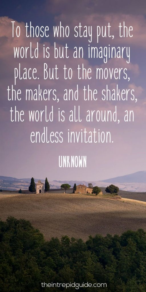 The world is an endless invitation