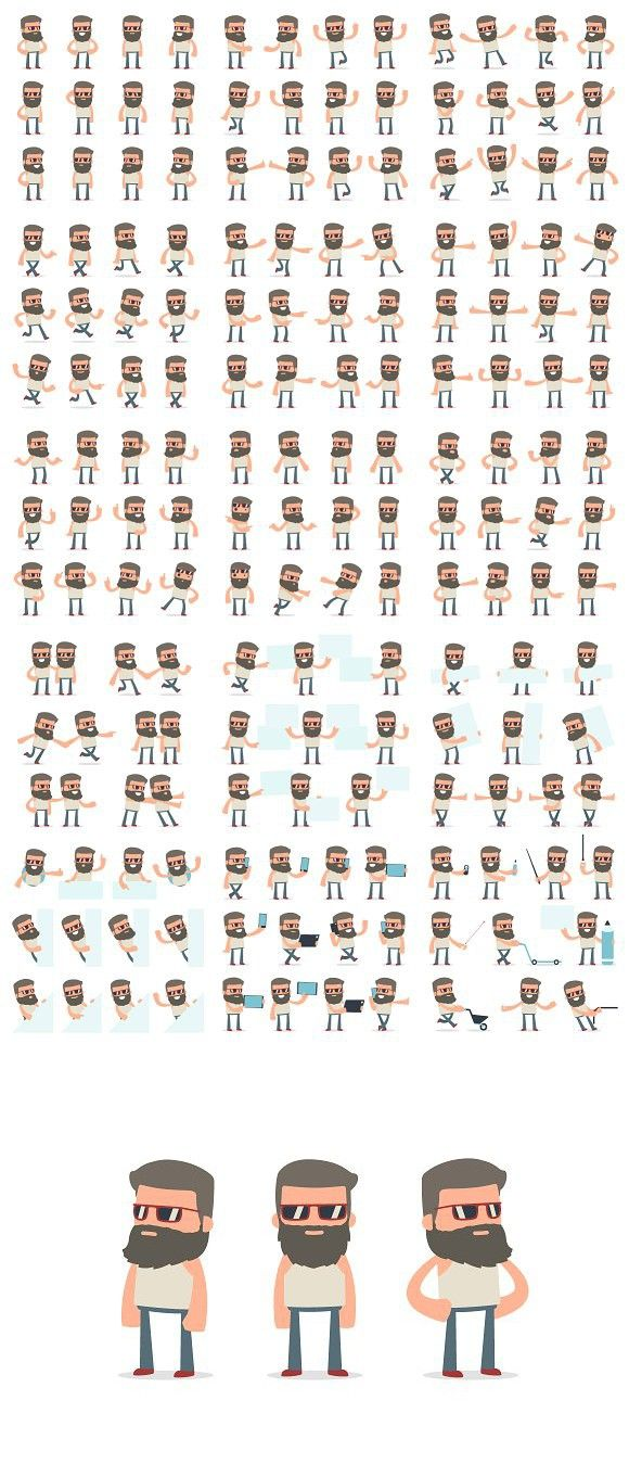 150  Poses of Character Hipster . Graphic Design Infographics #character #cartoon