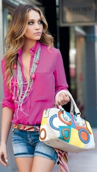 summer casual: denim and magenta combo