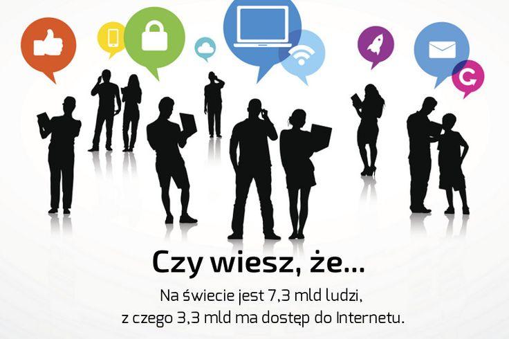 Czy wiesz, że... Na świecie jest 7,3 mld ludzi, z czego 3,3 mld ma dostęp do Internetu.