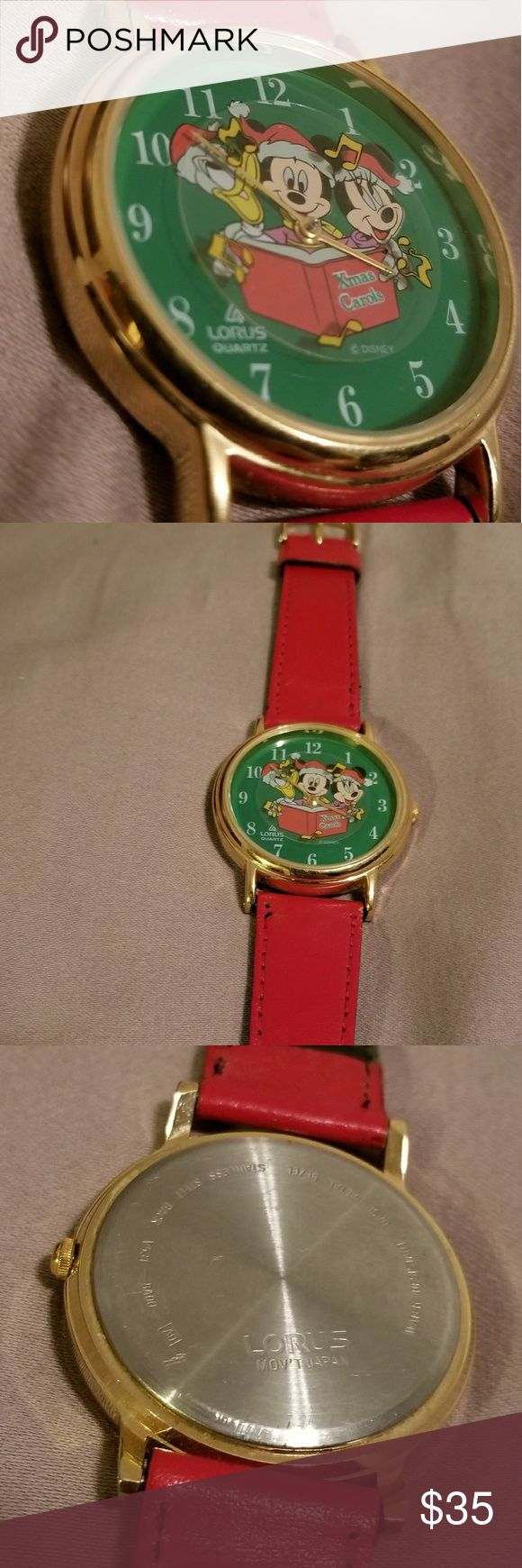 Mickey Mouse Watch Featuring a rare vintage Mickey Mouse watch by Lours. This beautiful watch depicts Mickey, Minnie, and Donald singing a Chistmas carol and features  rotating music notes. This watch is in amazing condtion for it age. It is used and has some wear in the inside of the band which is shown in the last two pictures but the outside of the band is immaculate. Holidays are right around the corner, get into the spirit with this beautiful watch! Lorus Accessories Watches