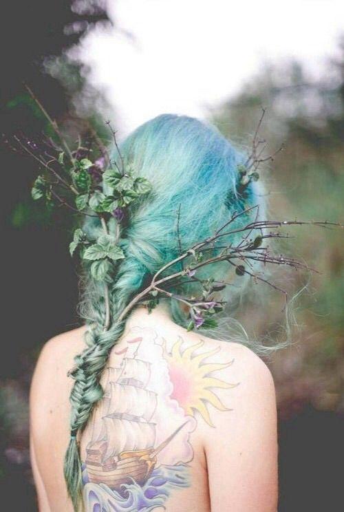 Image via We Heart It #bluehair #braid #colorhair #fashion #greenhair #grunge #hair #hairdo #hairstyle #hipster #indie #longhair #messyhair #style #tattoo #Tattoos #hairinspiration #fishtailbraid #pastelhair #finehair
