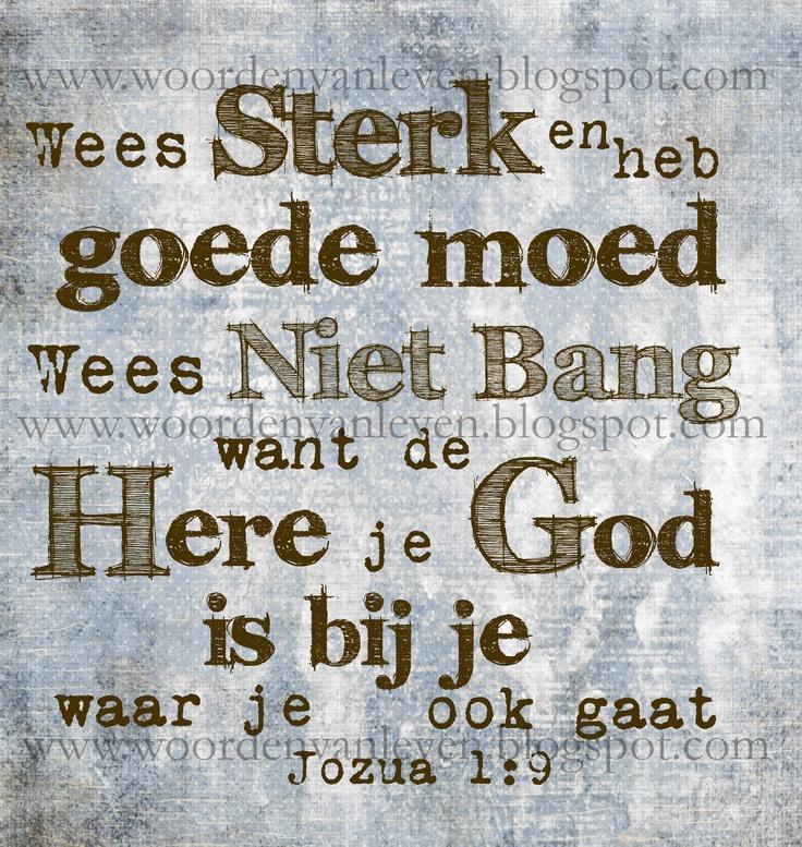 """Jozua 1:9, canvas ontworpen door Tineke de Raat, voor """"Woorden van Leven""""."""