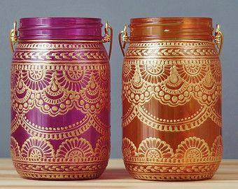 Set of 4 Moroccan Style Mason Jar Lanterns Brilliant by LITdecor