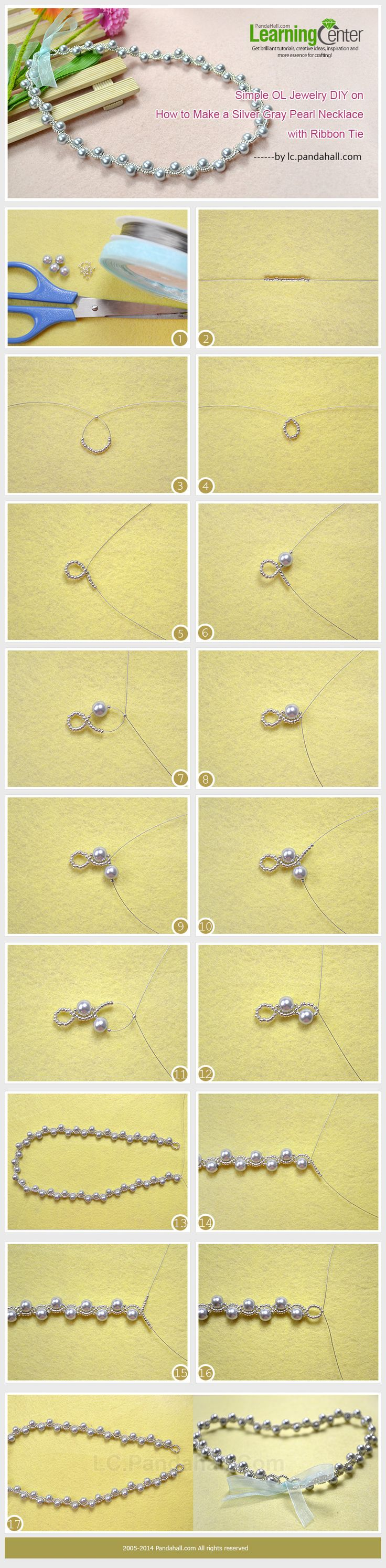 Simple OL Jewelry DIY on How to Make a Silver Gray Pearl Necklace with Ribbon Tie: