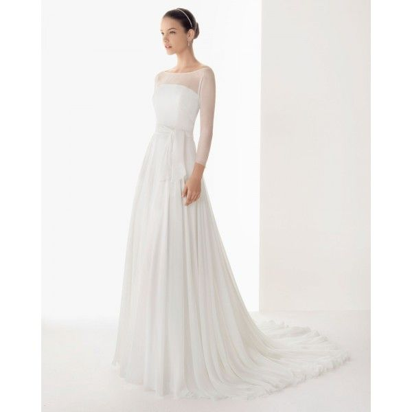 2013 Simple Long Sleeve Winter Wedding Dress With Hemstitch Detailing