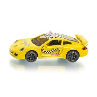"""Siku Porsche 911 Driving School #1457 by Siku. $8.99. Length: 3 1/8"""". Height: 1 1/8"""". Width: 1 5/16"""". The dream car for the driving school! Striking and cool driving school style with Porsche 911 lettering with rear spoiler and powerful sport wheel rims with wide-tyres made from high-grip plastic. Body fitted with opening metal doors. Roof sign displaying driving school notice. Stickers with driving school logos, multi-lingual."""