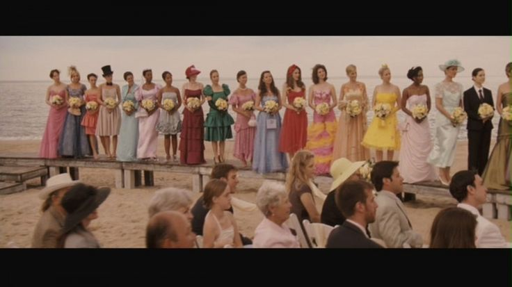 The first 18 bridemaids dresses in a close up shot.