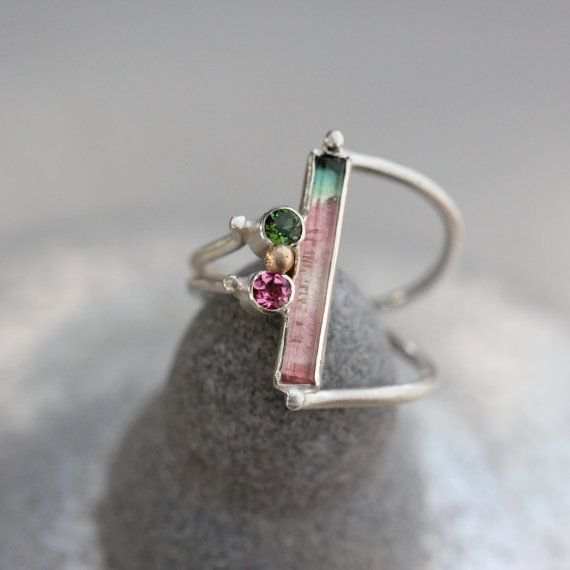 I really love the color of this ring! at http://www.etsy.com/listing/172234068/watermelon-tourmaline-silver-gold-ring