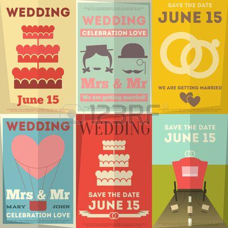 Wedding Posters Set Retro Wedding Invitation in Flat Design Style Vector Illustration  Stock Vector