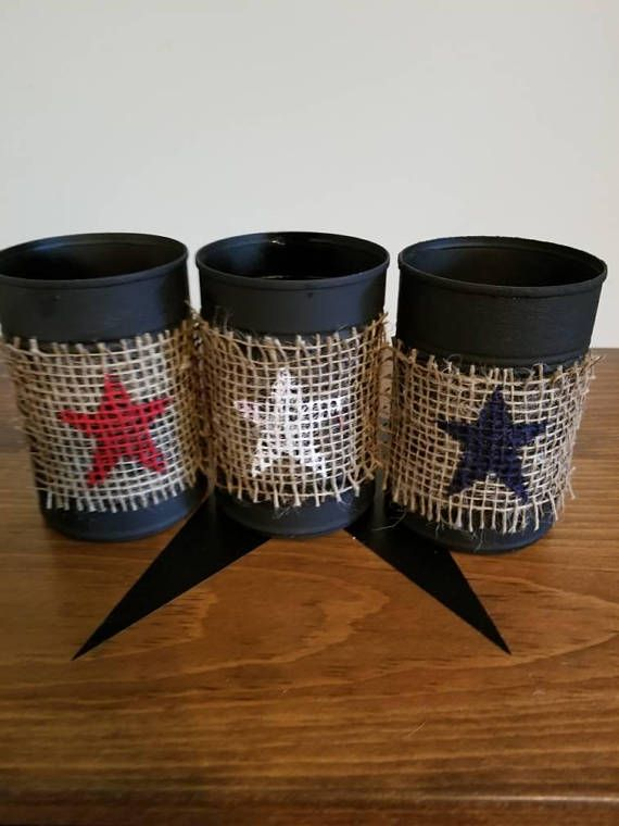 Check out this item in my Etsy shop https://www.etsy.com/listing/531611348/patriotic-tin-cans-set-of-3-primitive