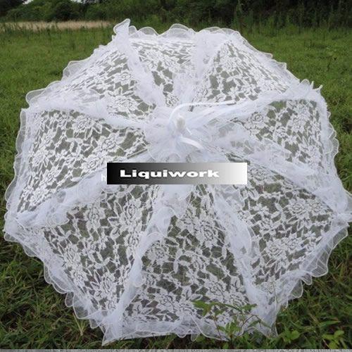 Chinese White Lace Wedding Bridal Sun Parasol Parasols Umbrella Umbrellas Wholesale SKU-71104036