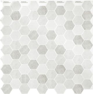 "Peel & Impress Grey Hex 10.5"" x 10.5"" Peel and Stick Backsplash Tiles™ - 4 pack"