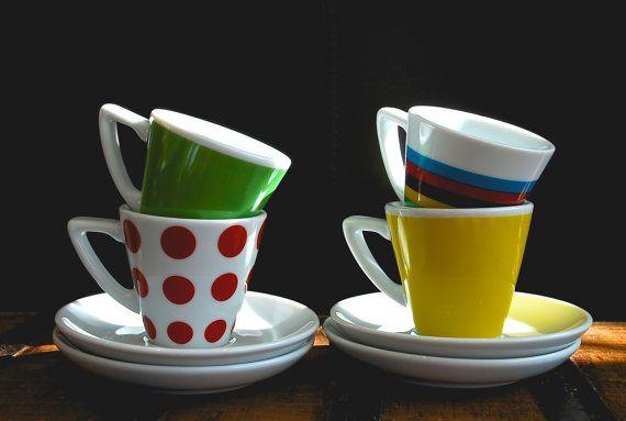 Tour de France Jersey  Set of 4  Espresso Cups by CoffeeAndCols, £36.00