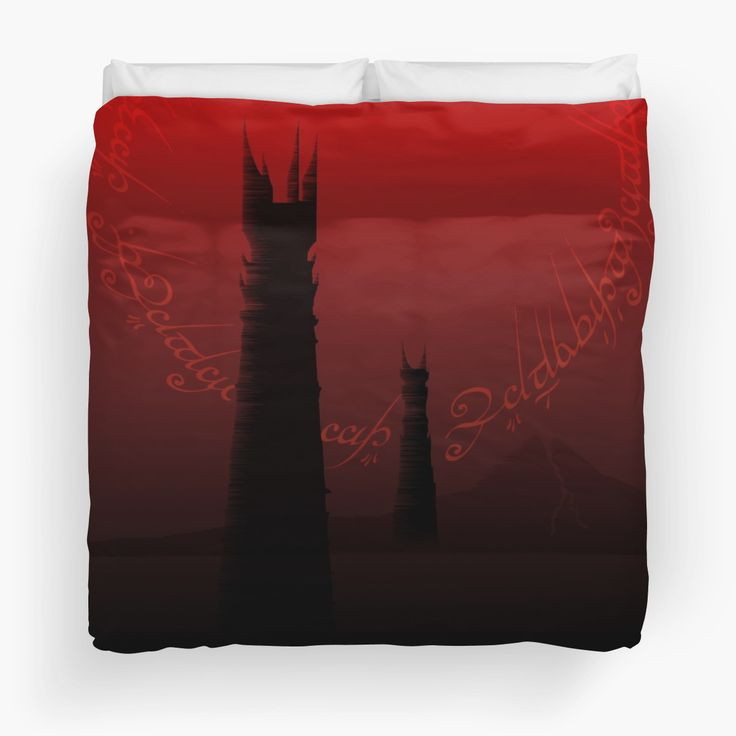 The Road to Mount Doom Duvet Cover by Scar Design #lotr #lotrduvet #homedecor #homegift #home #gift #twotowers #mountdoom #dark #red