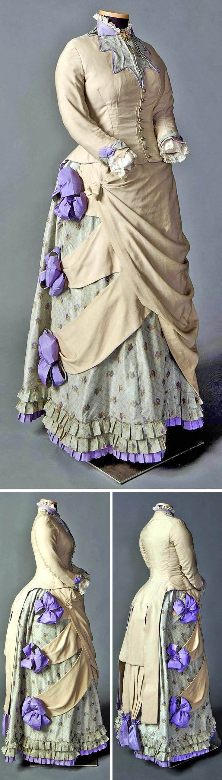 """Two-piece day ensemble in beige, pale green, & purple, North American, ca. 1882-85. Cotton, wool, silk. Fawn wool bodice cut in """"tailor-made"""" style, tightly fitted with center front button closure, long cuffed sleeves, & elaborate tail, to suggest man's tailcoat. These details contrast with lace trim at collar & cuffs, 3 large purple bows on wool swags, & 3 rows of narrow box pleats around skirt hem. Foundation skirt of watered silk taffeta, worn over cage bustle. Smith College Historic…"""