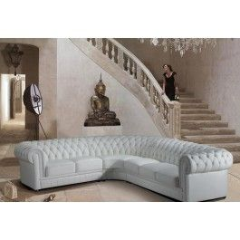 Paris Transitional Tufted White Leather Sectional Sofa - 1875.0000 - LA Furniture Store
