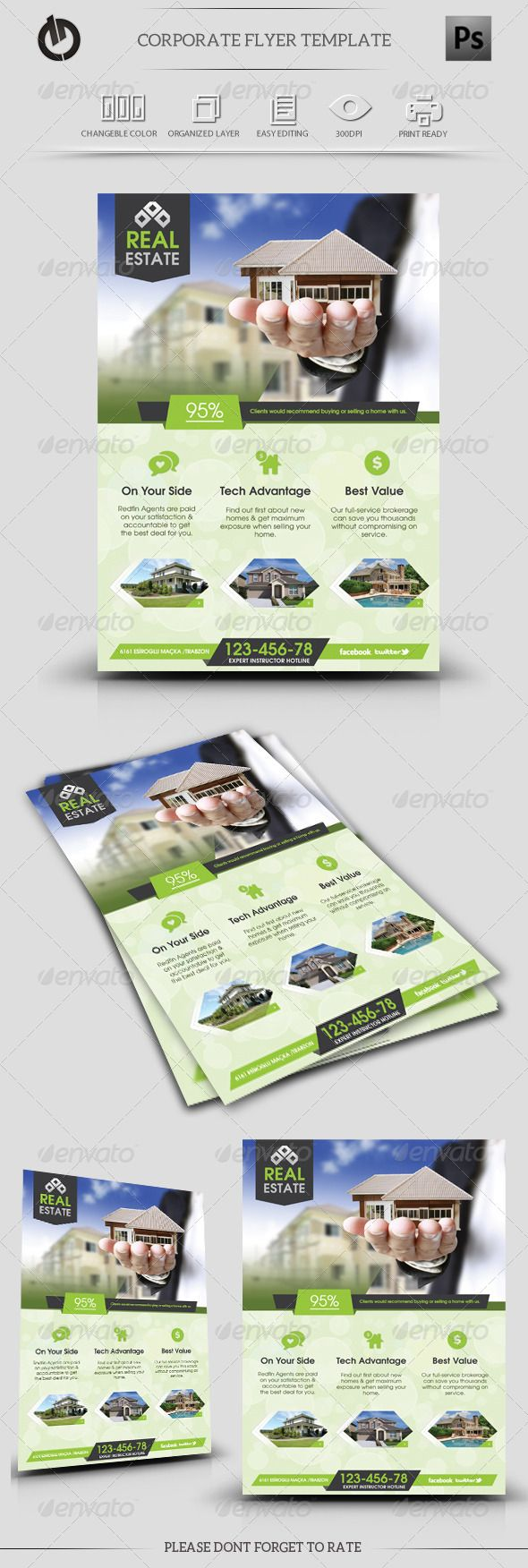 Real Estate Flyer Template — Photoshop PSD #flexible #corporate • Available here → https://graphicriver.net/item/real-estate-flyer-template/5713519?ref=pxcr