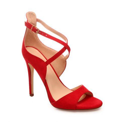 Sandales suédine pas chères rouges à talon aiguille lamodeuse