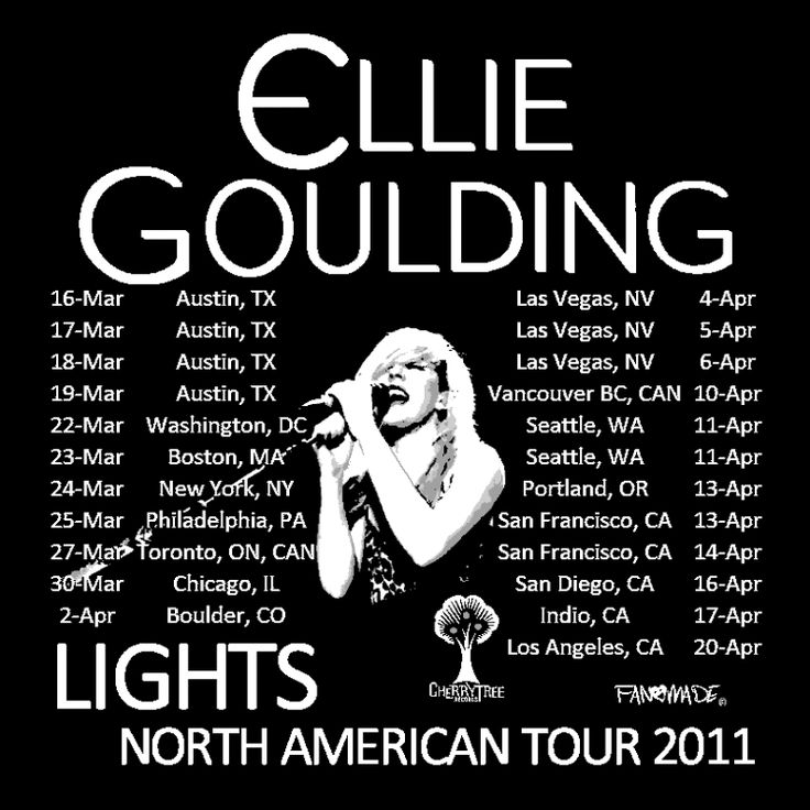 FAN♥MADE Ellie Goulding Lights Tour Dates t-design - Cherrytree Records