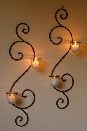 Wall Mounted Long Holder Using Wrought Iron Candle Holders As