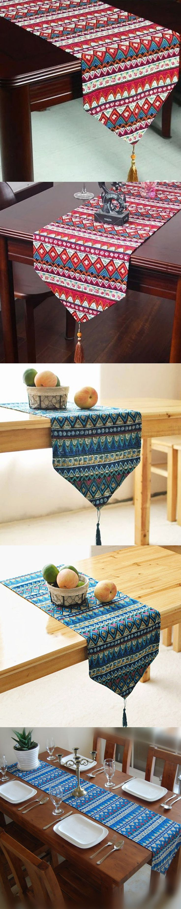 Cotton Linen Bohemian Style Tassel Table Runner Dining Table Cover Kitchen Hotel Home Textile Home Decor U0801 $14.99