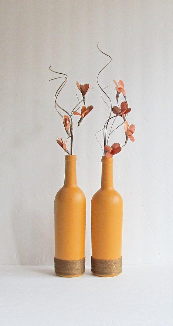 Orange Wine Bottle Vase Wine Bottle Set Farmhouse Decor Rustic Home Decor Wine Bottle Decor Orange Wine Bottle Cottage Decor