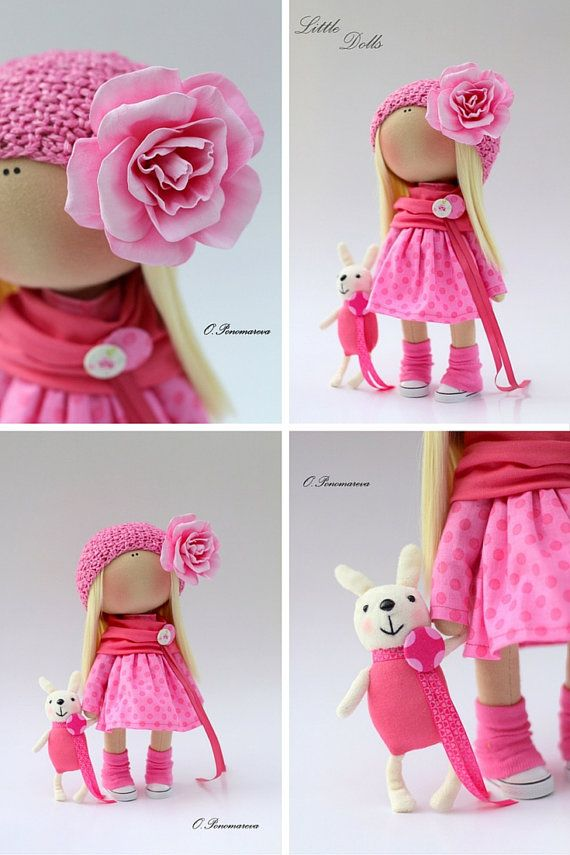 Pink rose doll Fabric doll Tilda doll pink by AnnKirillartPlace