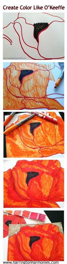 Tutorial for teaching kids to color like OKeeffe using markers. | Harrington Harmonies #art #kids
