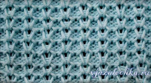 Узор «Вертикальные соты» спицами, видео