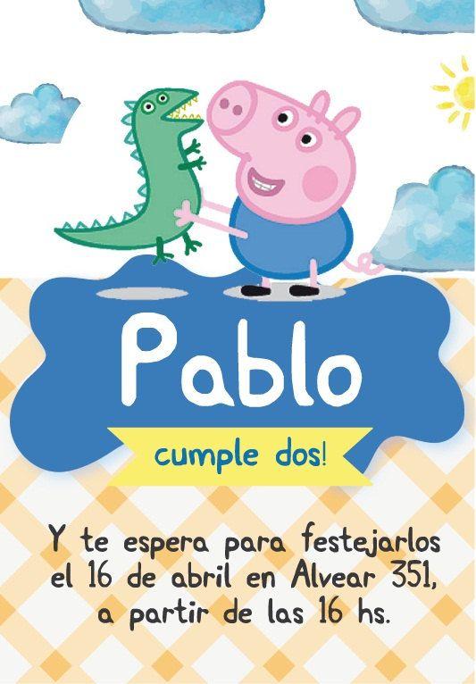 Kit imprimible de cumpleaños George Pig. Invitación por CumpleKits                                                                                                                                                                                 Más