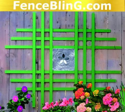 Outdoor Wall Art Metal Flower Insert Fence Bling in Green is great for privacy and Yard Art. This Outdoor Wall Decor provides color and more privacy between yards, FenceBling.com is the right place for you.