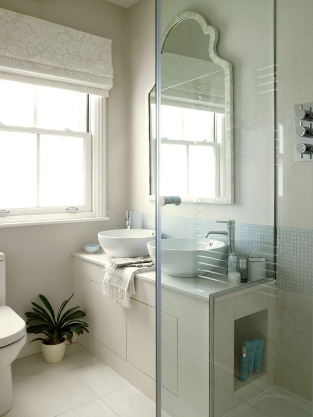 ideen kleine bäder doppel-waschtisch unterschrank glas trennwand