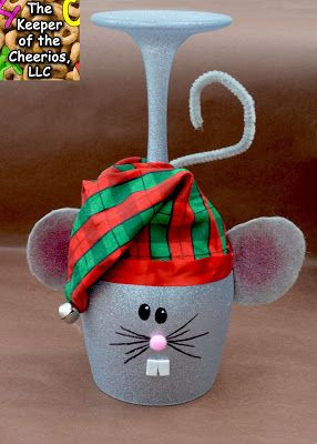 Christmas Mouse Wine Glass Candle Holder