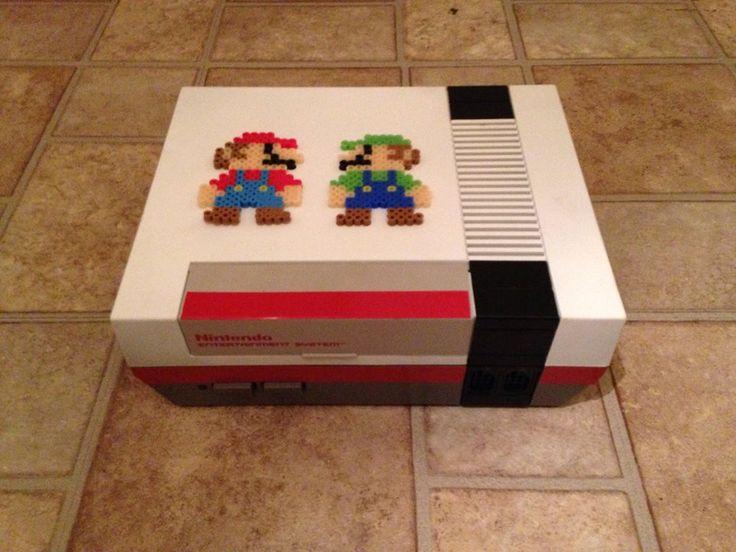 Super Mario . White and Red Unlocked NES console Made by Retro Refabricators